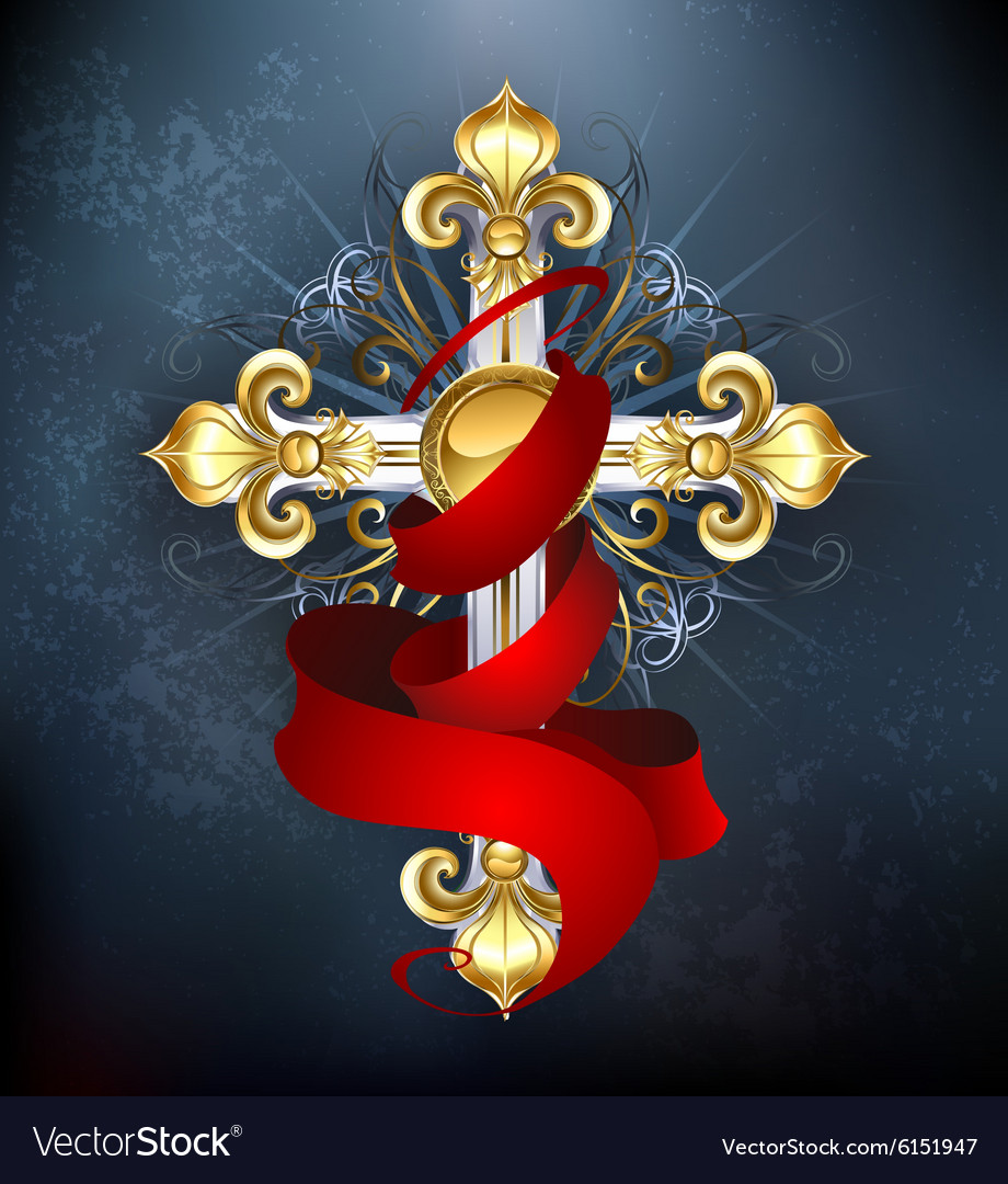 Cross with a Red Ribbon vector image