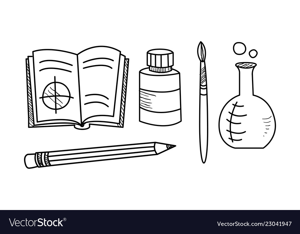 Hand drawn education icons set school objects