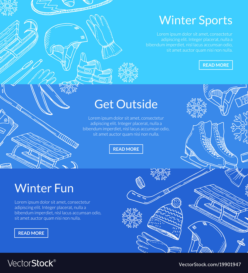 Hand drawn winter sports equipment vector image