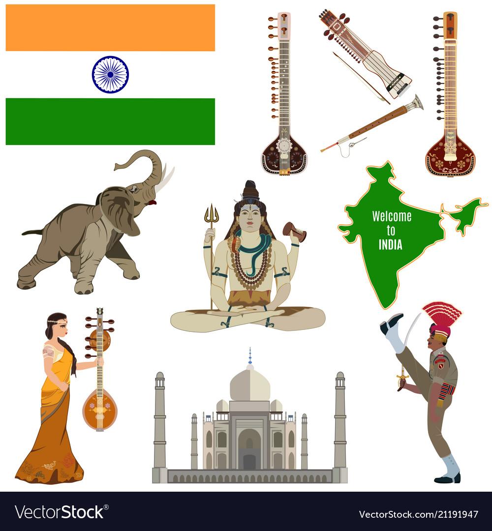 Indian symbols flat icon set