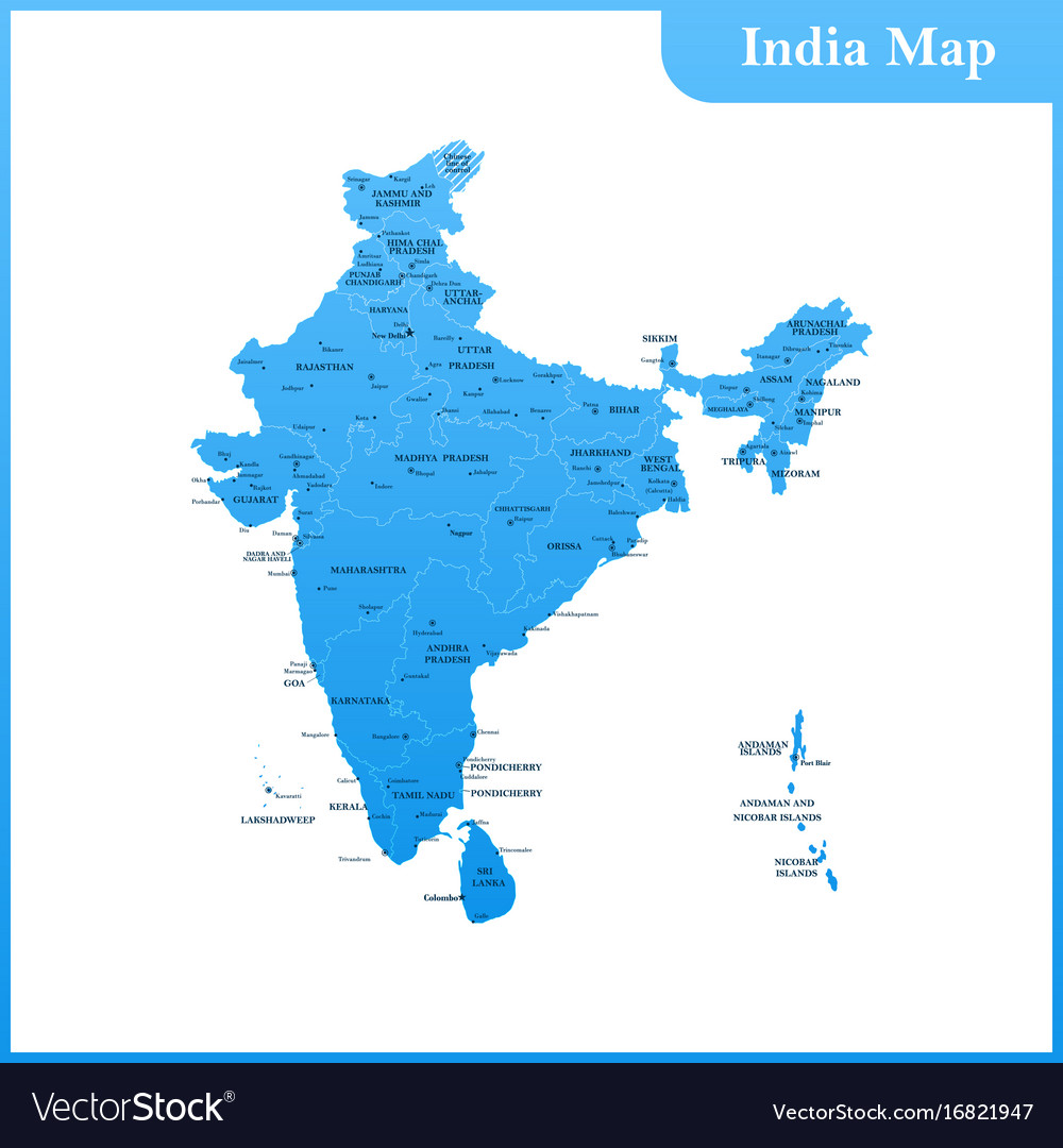 Map Of India And Sri Lanka Royalty Free Vector Image