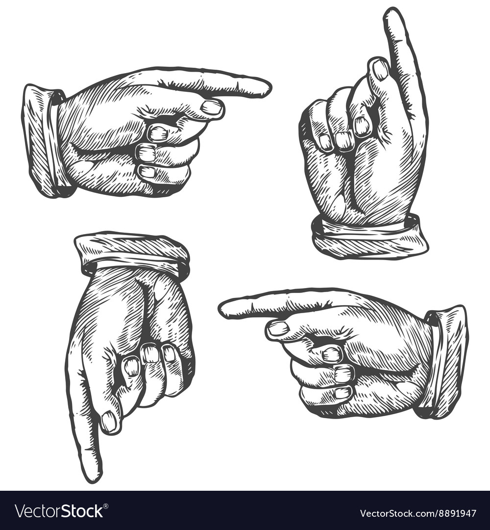 Pointing up down left right finger vector image