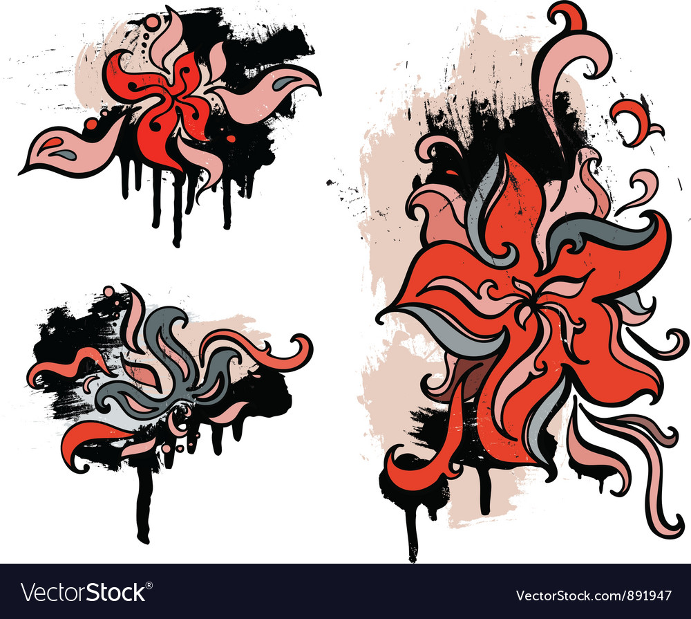 Red flowers Set grunge design element vector image