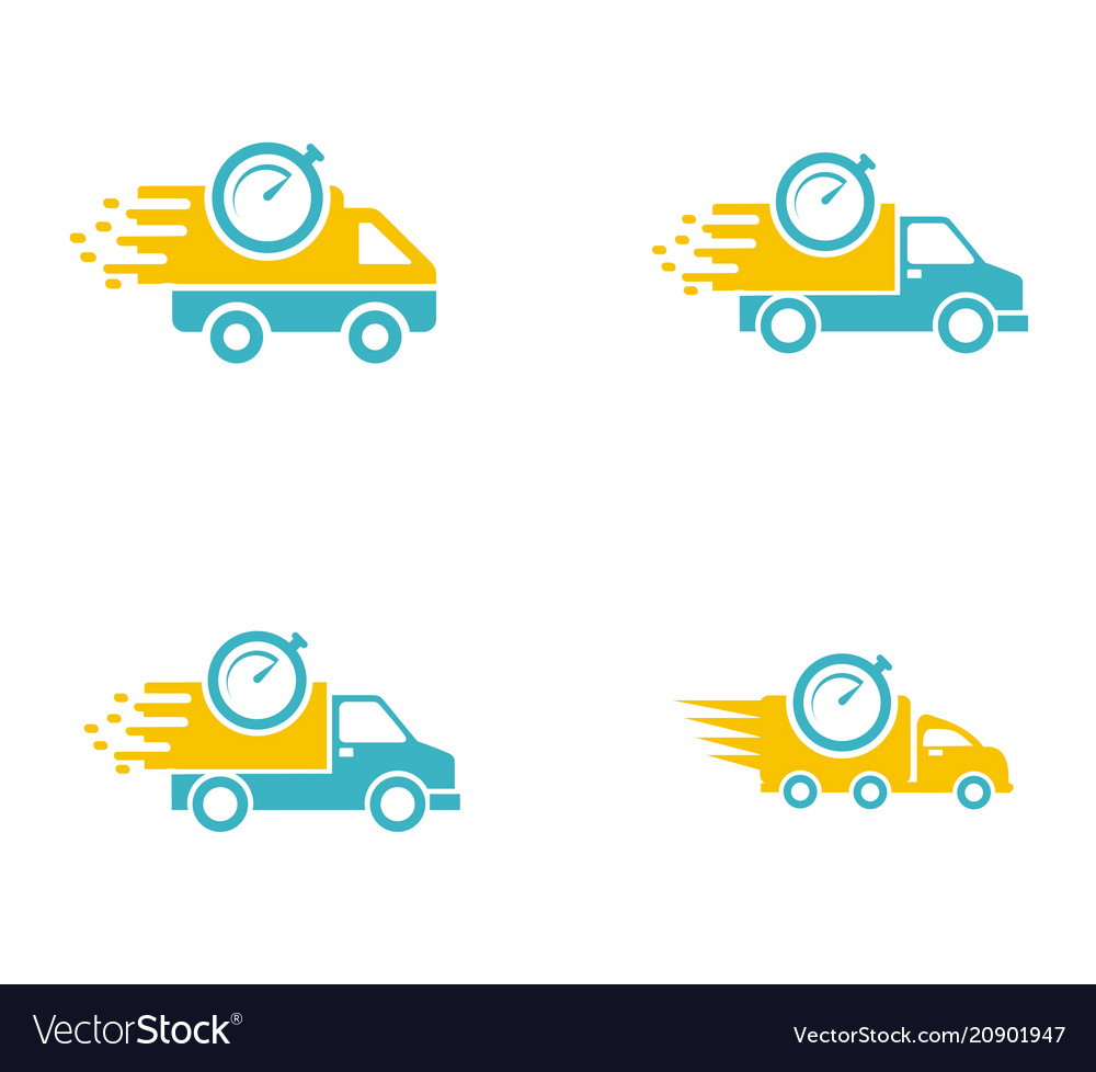 Set collection car delivery logo