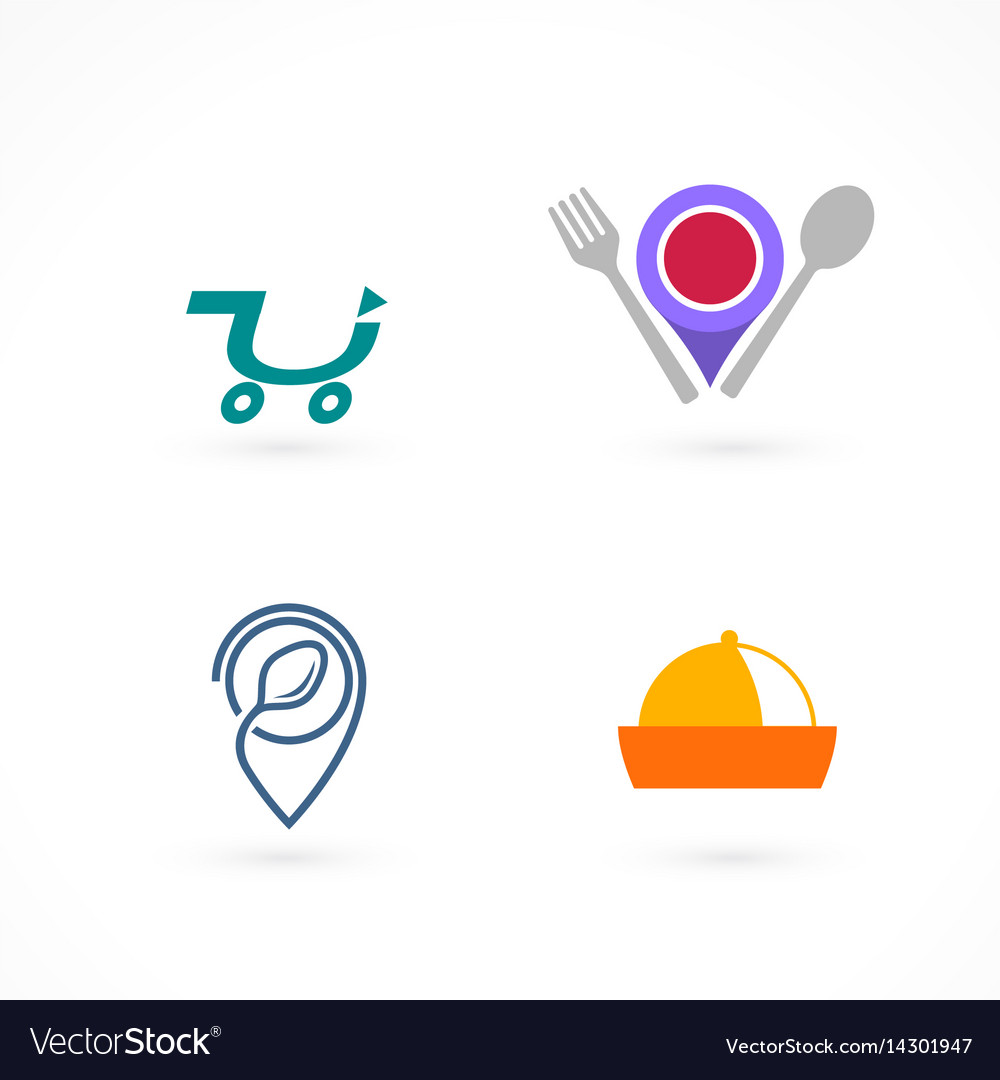 Set of food logos and elements vector image
