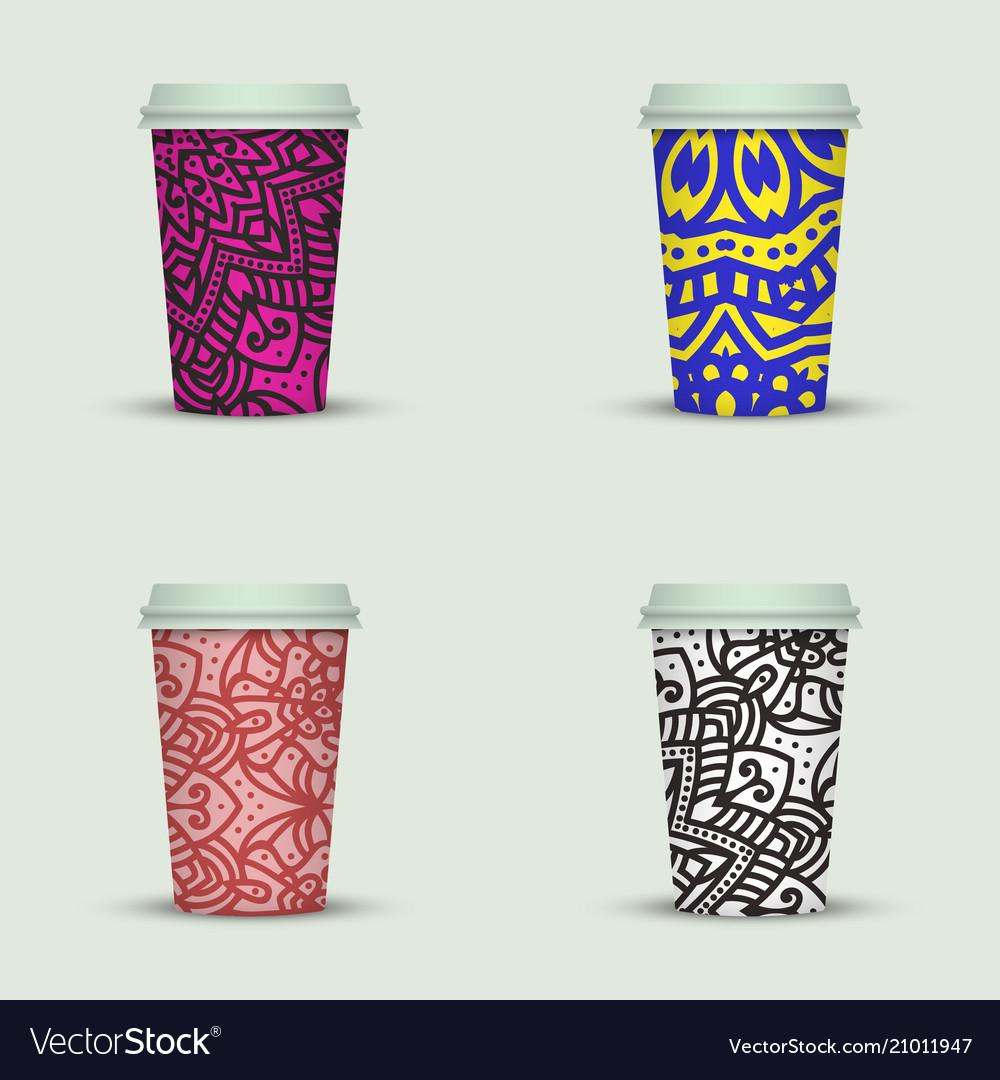 Watercolor Take Away Coffee Cup Creative Design Vector Image