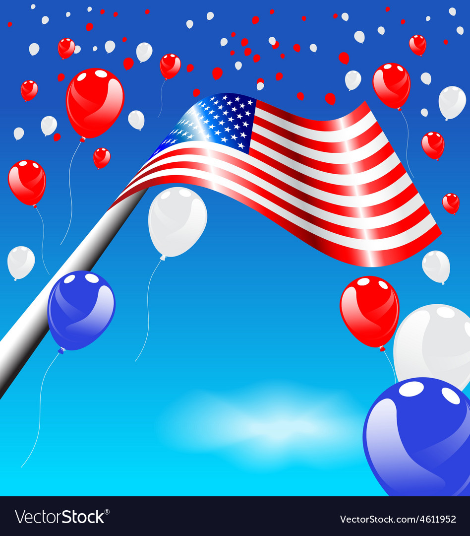 American Flag and balloons on blue sky