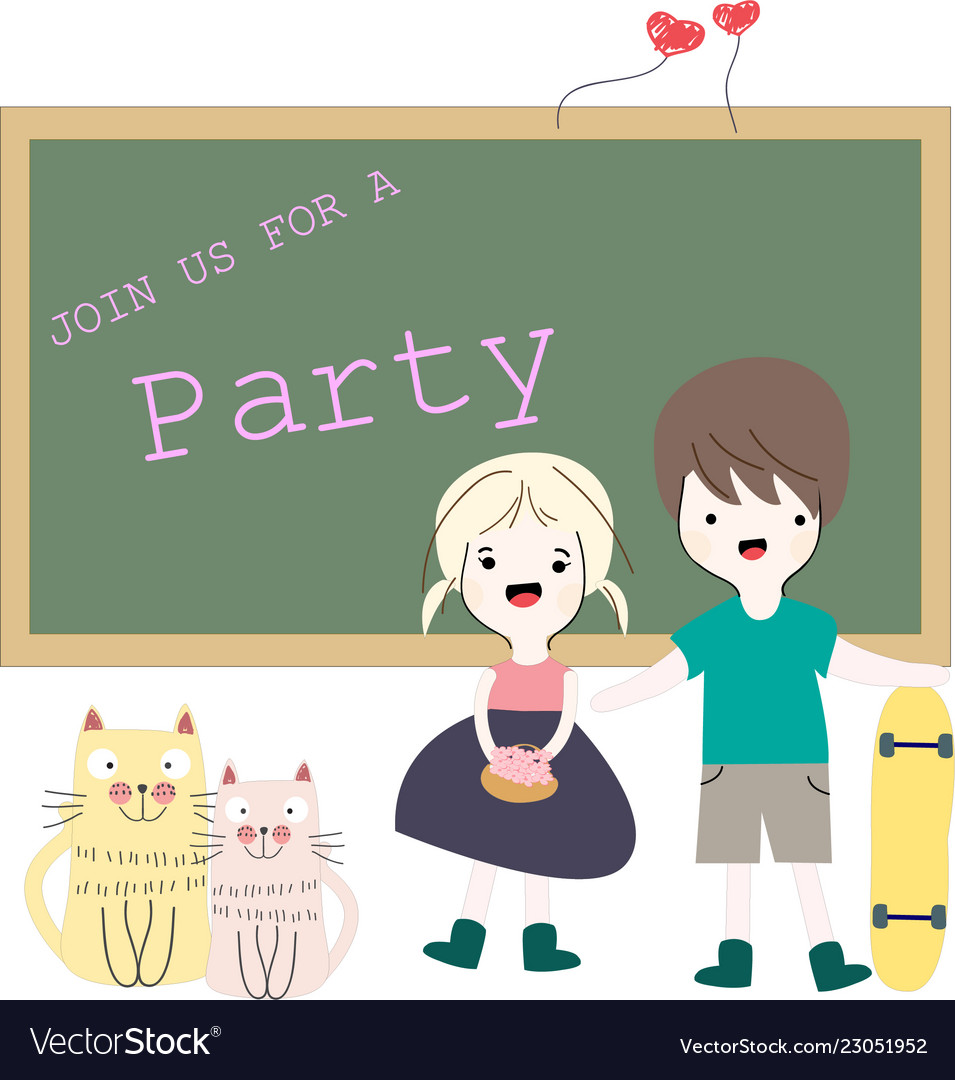 Baby girl and boy invite to the party