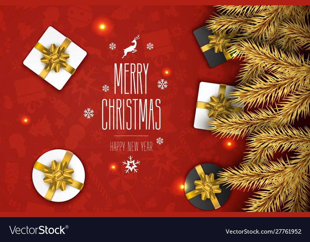 Christmas compositionon on red background