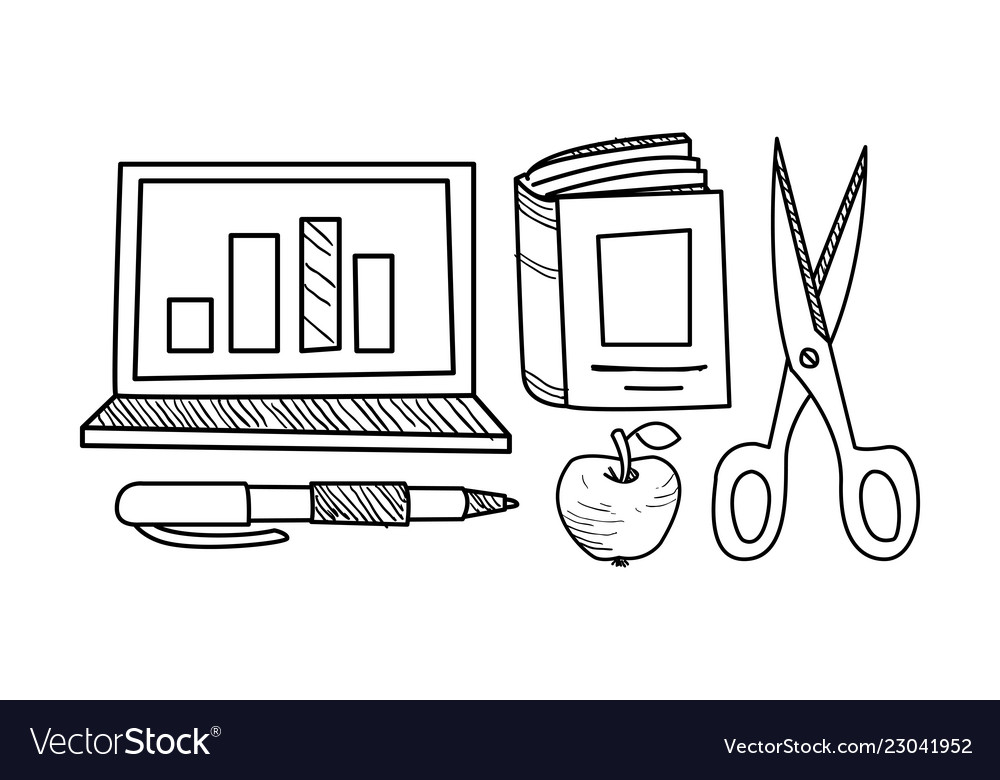 Education icons set hand drawn school objects