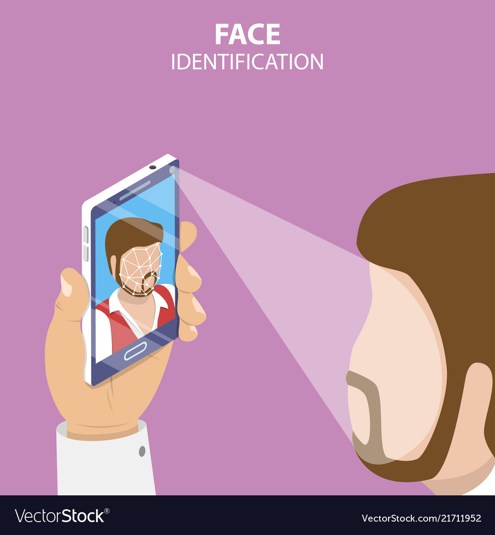 Facial recognition system flat isometric