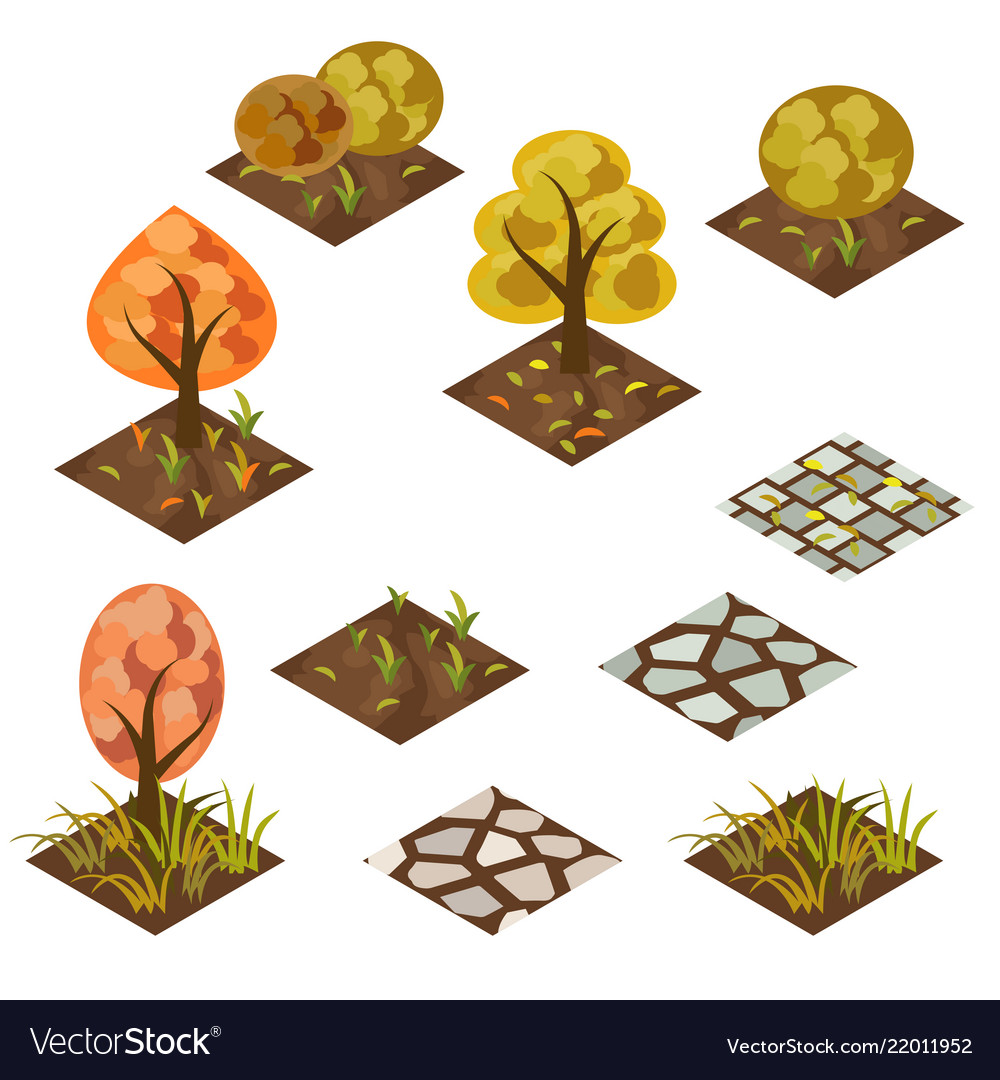 Garden or farm isometric tile set