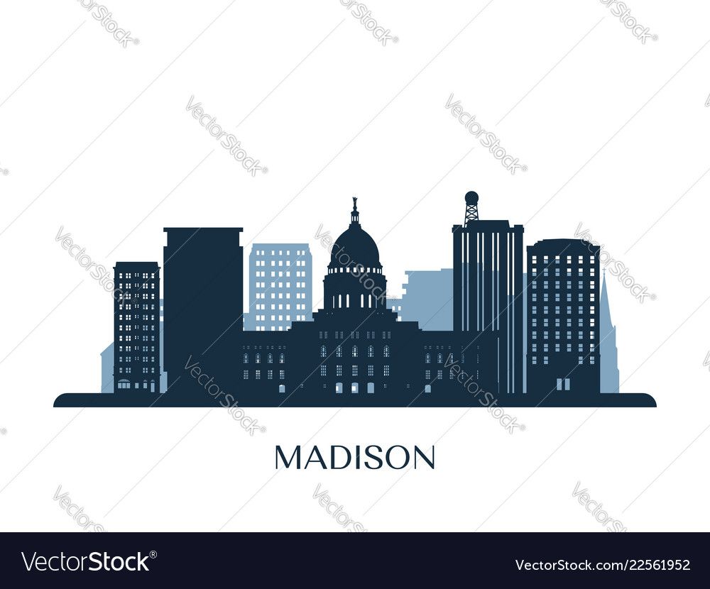 Madison skyline monochrome silhouette