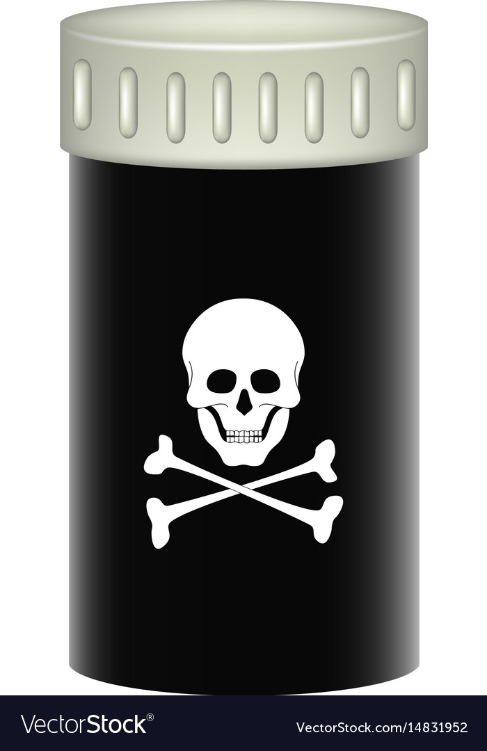 Medical container with danger sign skull symbol