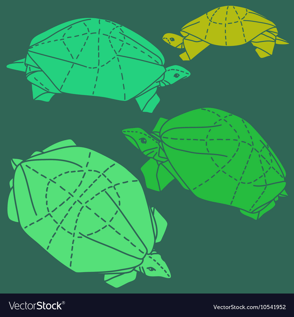 Origami turtles drawing set