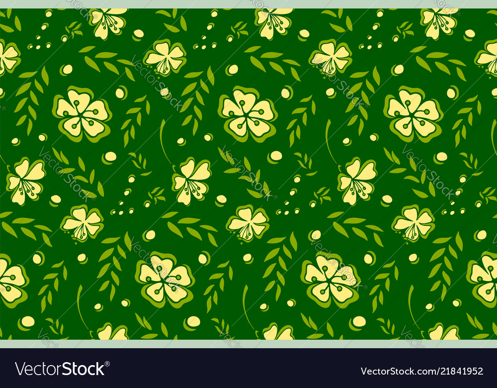 Seamless pattern with flowers on green background