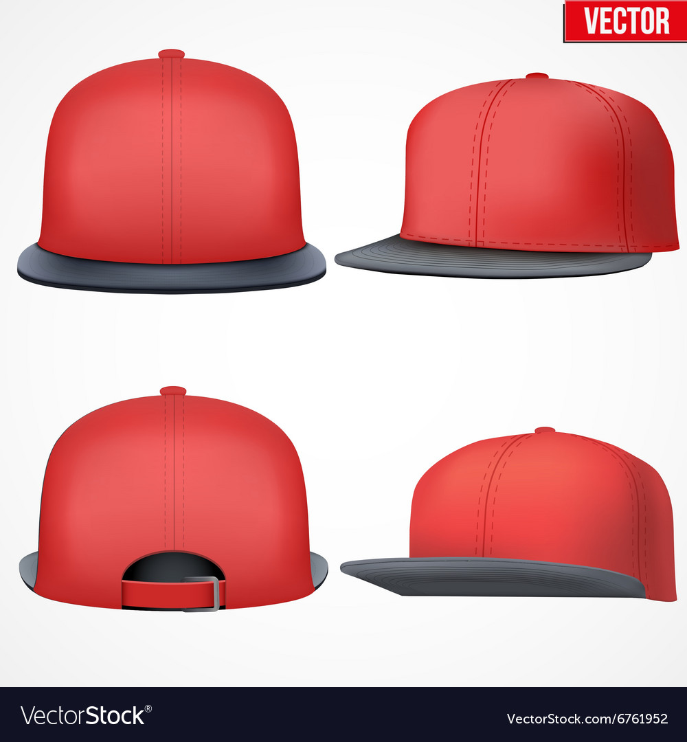 Set Layout of Male red rap cap vector image