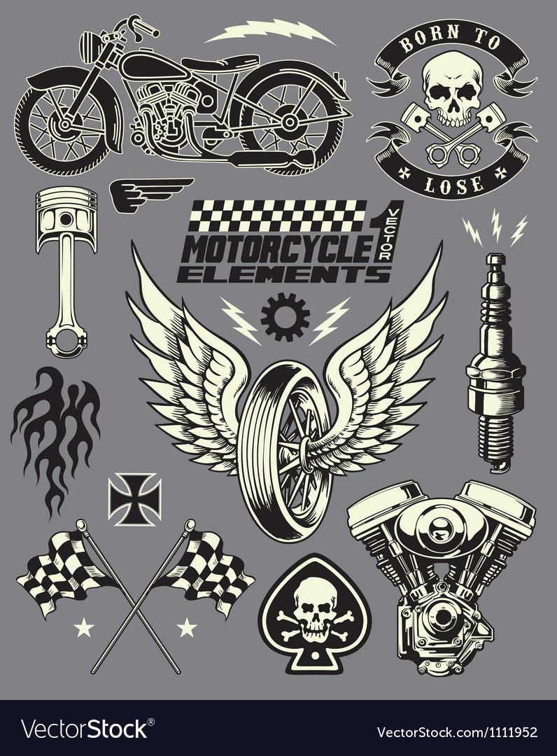 Set of Vintage Motorcycle Elements