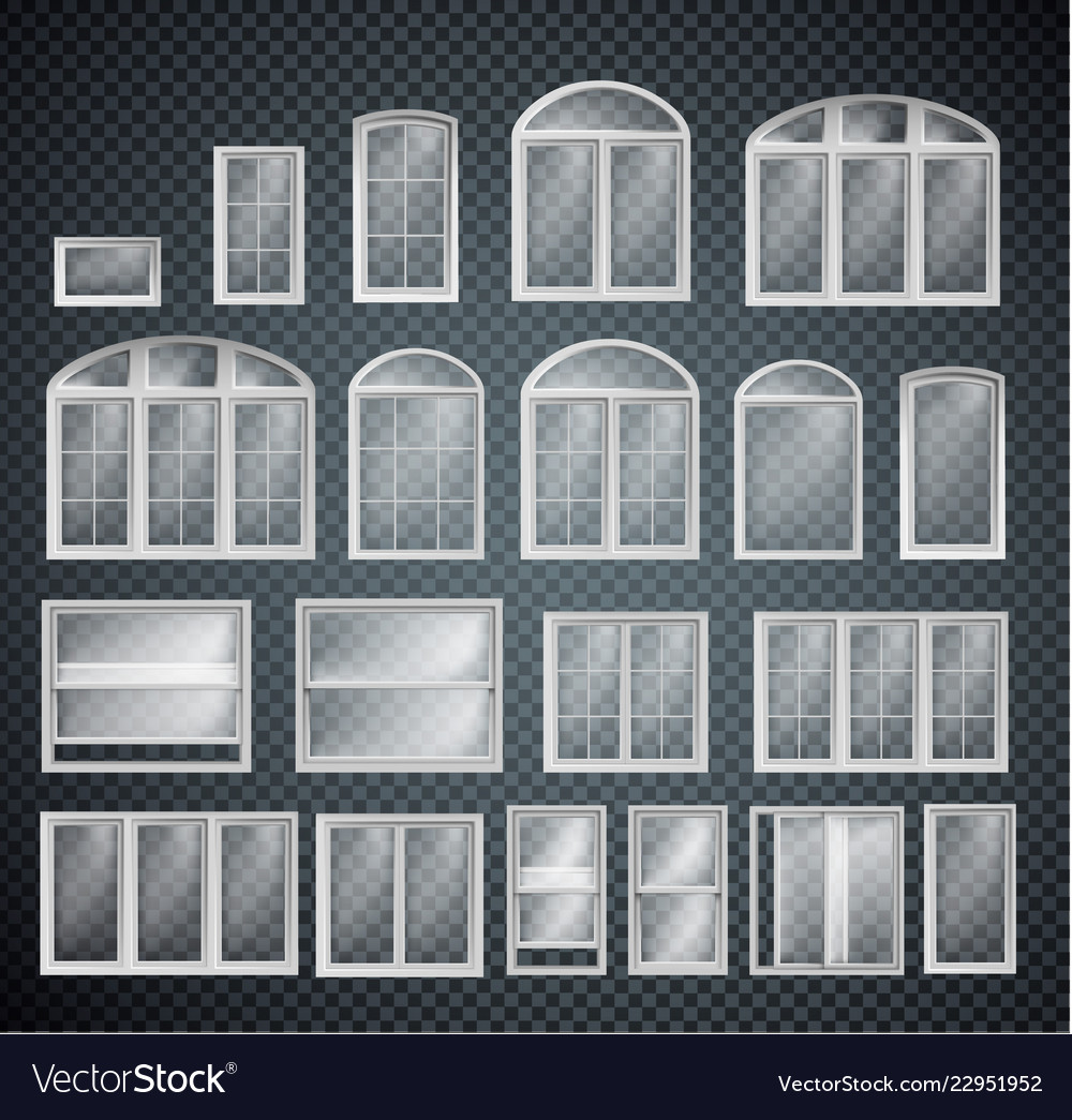 Set of window frames isolated on transparent