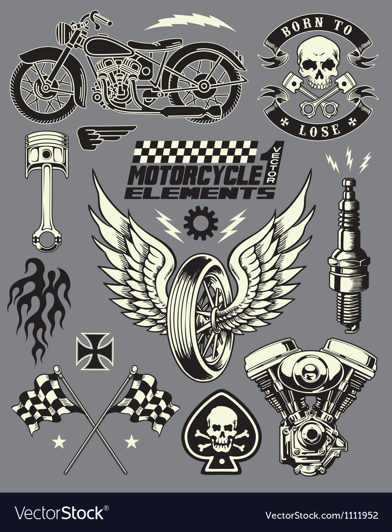 Set vintage motorcycle elements