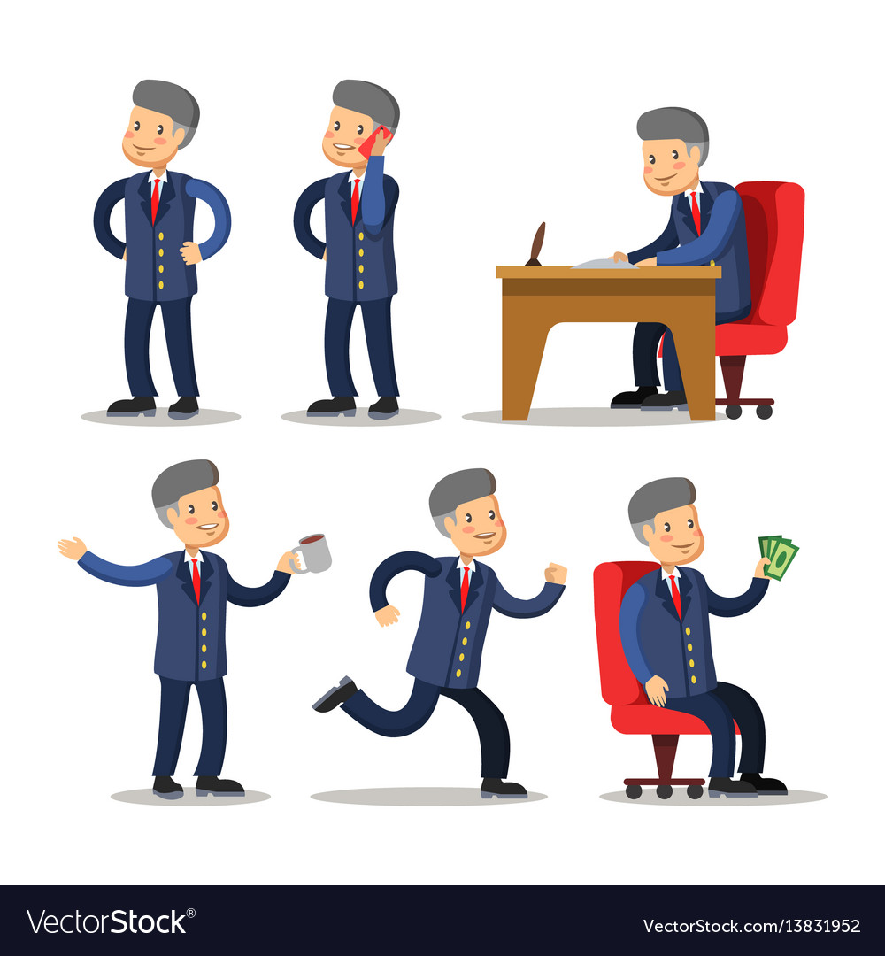 Successful businessman cartoon set man with money