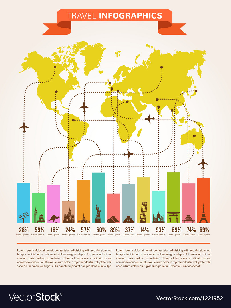 Travel and flight infographics with data icons