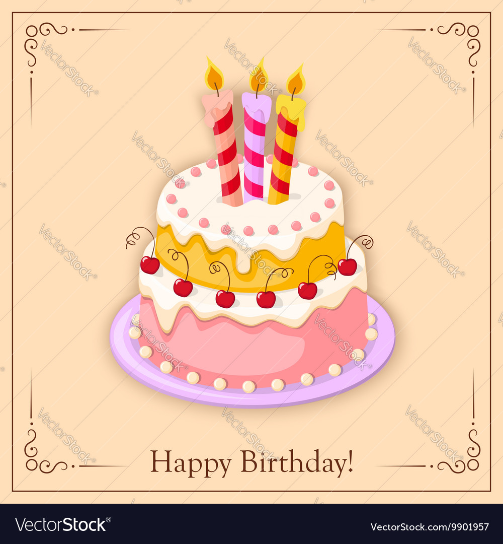 Birthday vintage card with cake tier