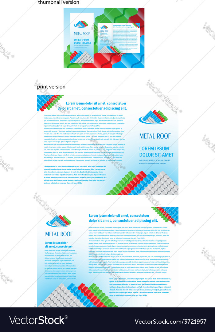 Brochure folder roof metal profile colored design