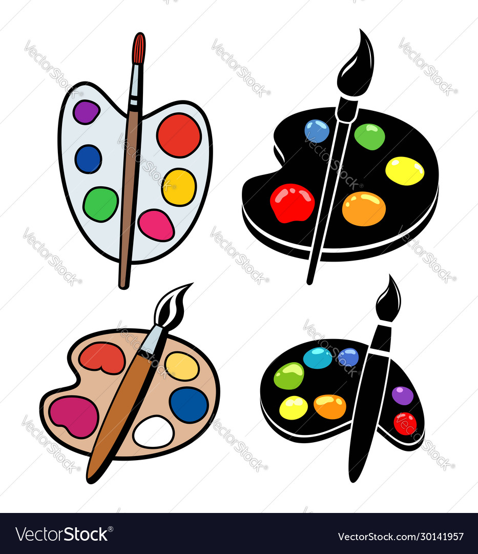 Collection wooden art palettes with blobs of