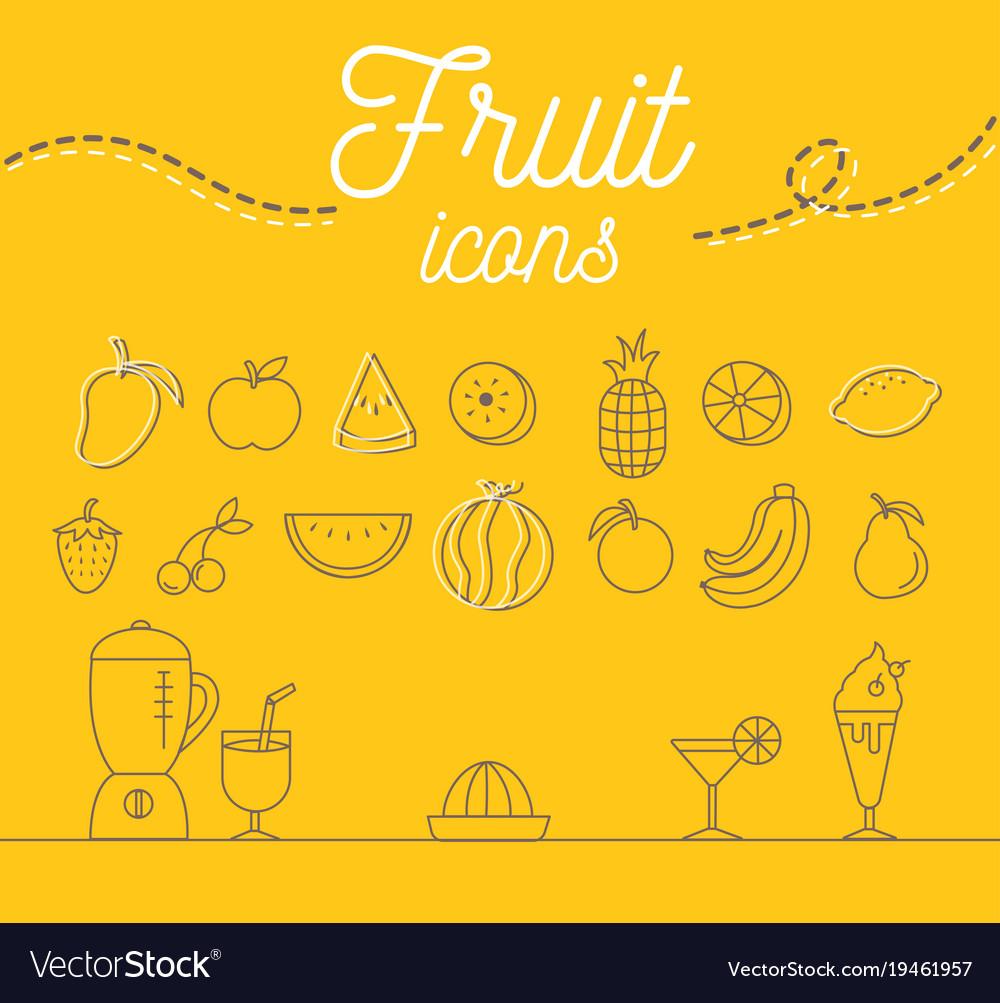 Fruit icons set design on yellow background