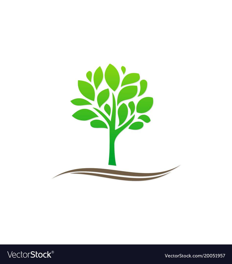 Green tree plant organic nature logo