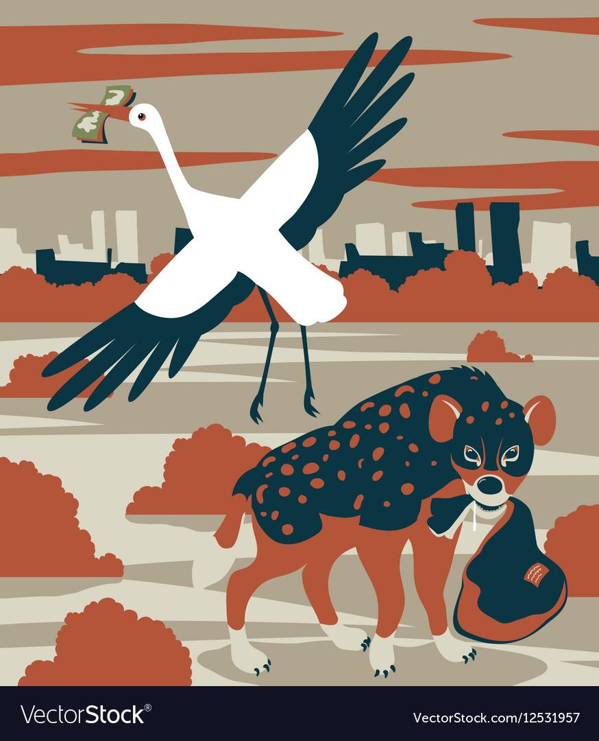 Hyena and stork vector image