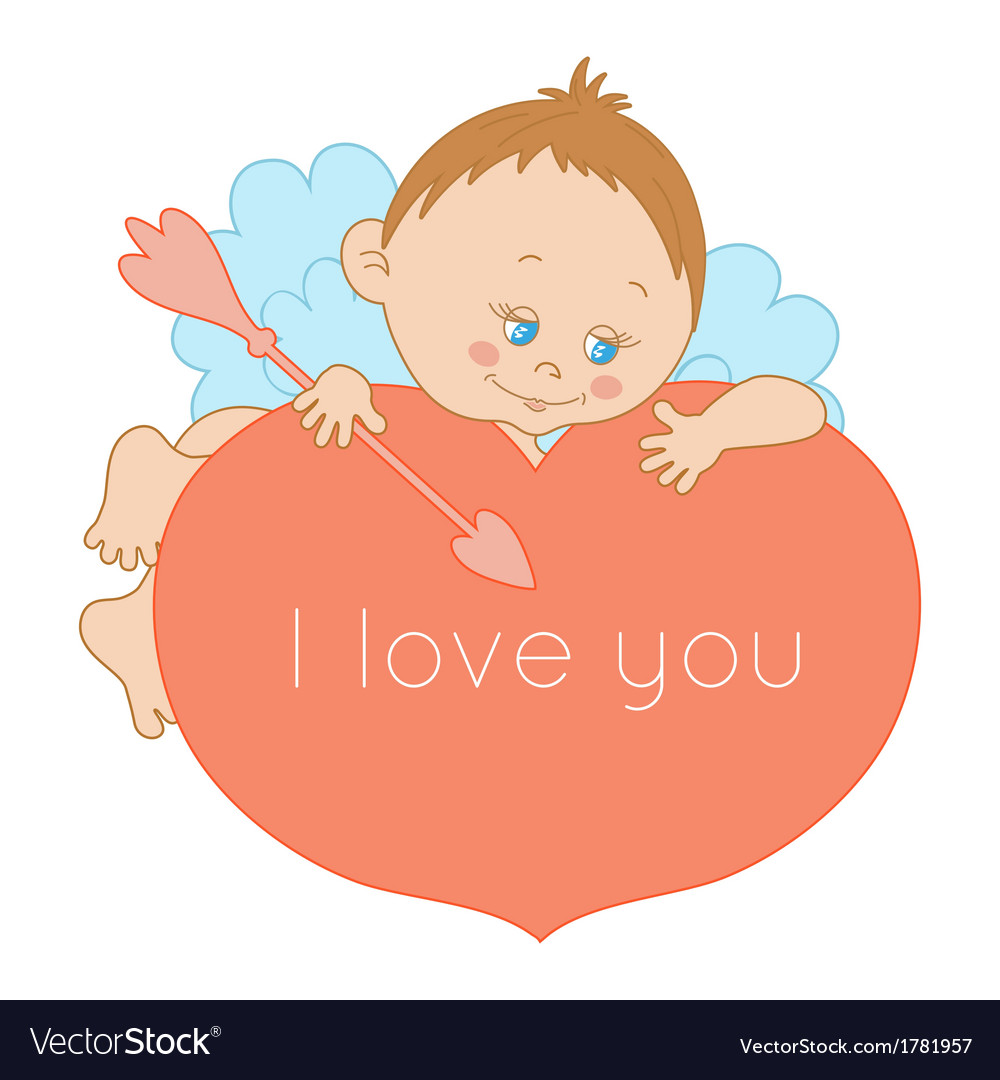 I love you card Valentines Day with a cute cupid
