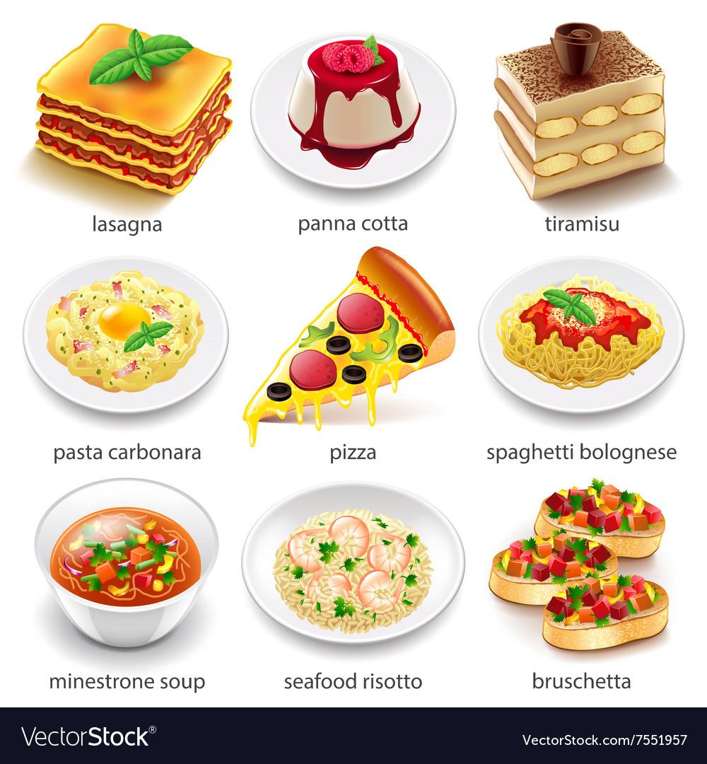 Italian food icons set vector image