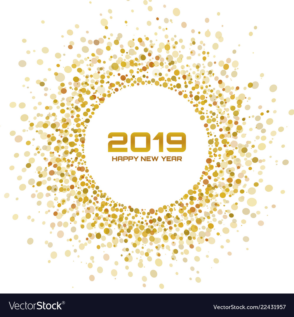 New year 2019 card christmas gold circle frame