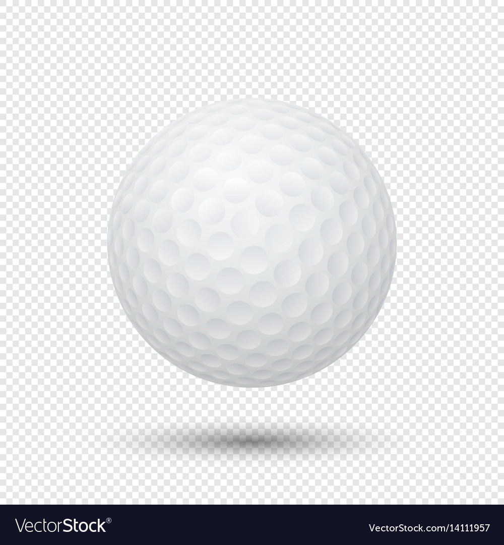Realistic flying golf ball closeup isolated
