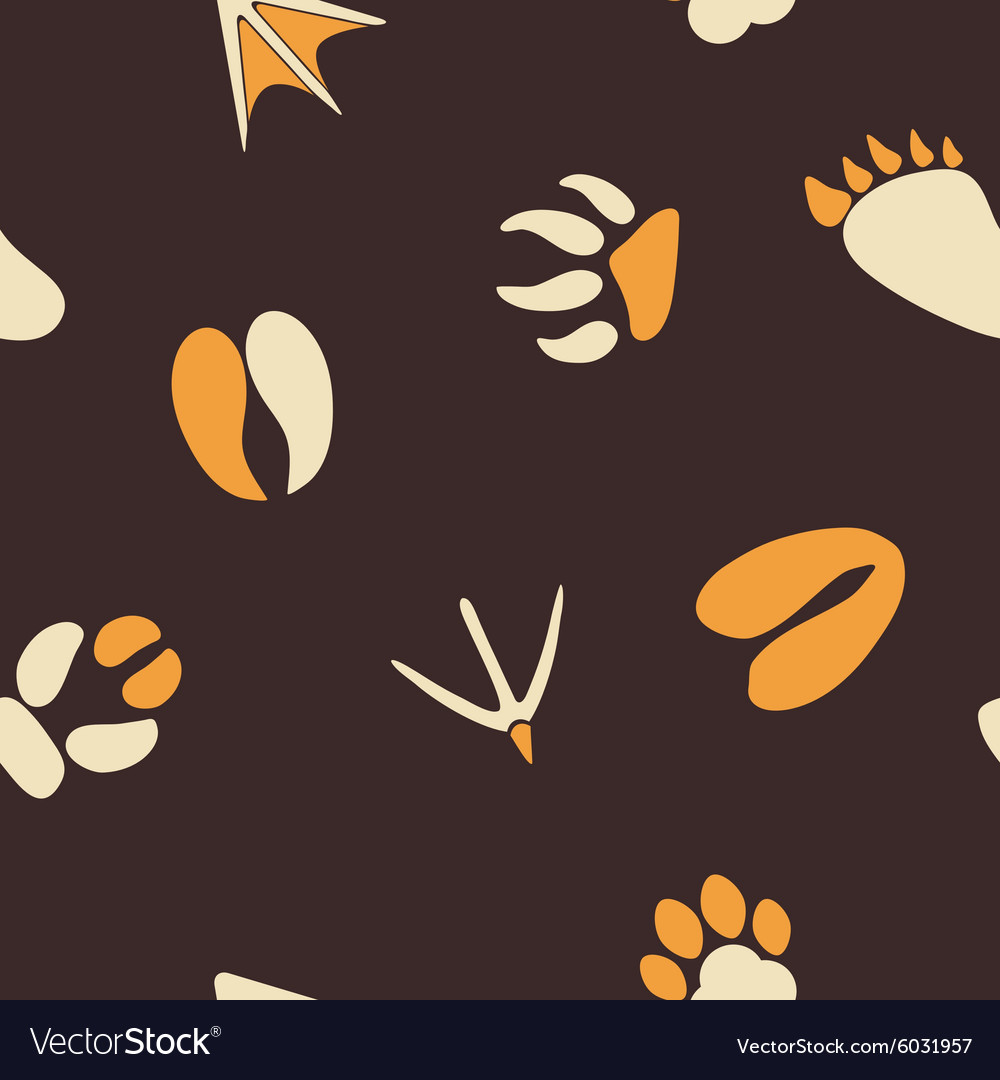 Seamless background with traces of animals