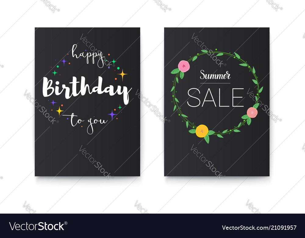 Set of happy birthday and summer sale posters with