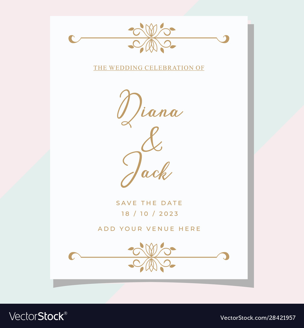 Simple classic wedding invitation card template Vector Image