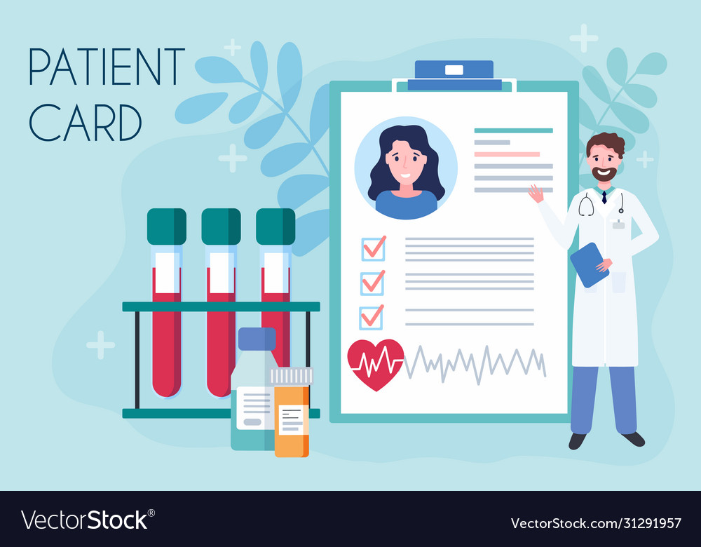 Tiny doctor show medical patient card concept of