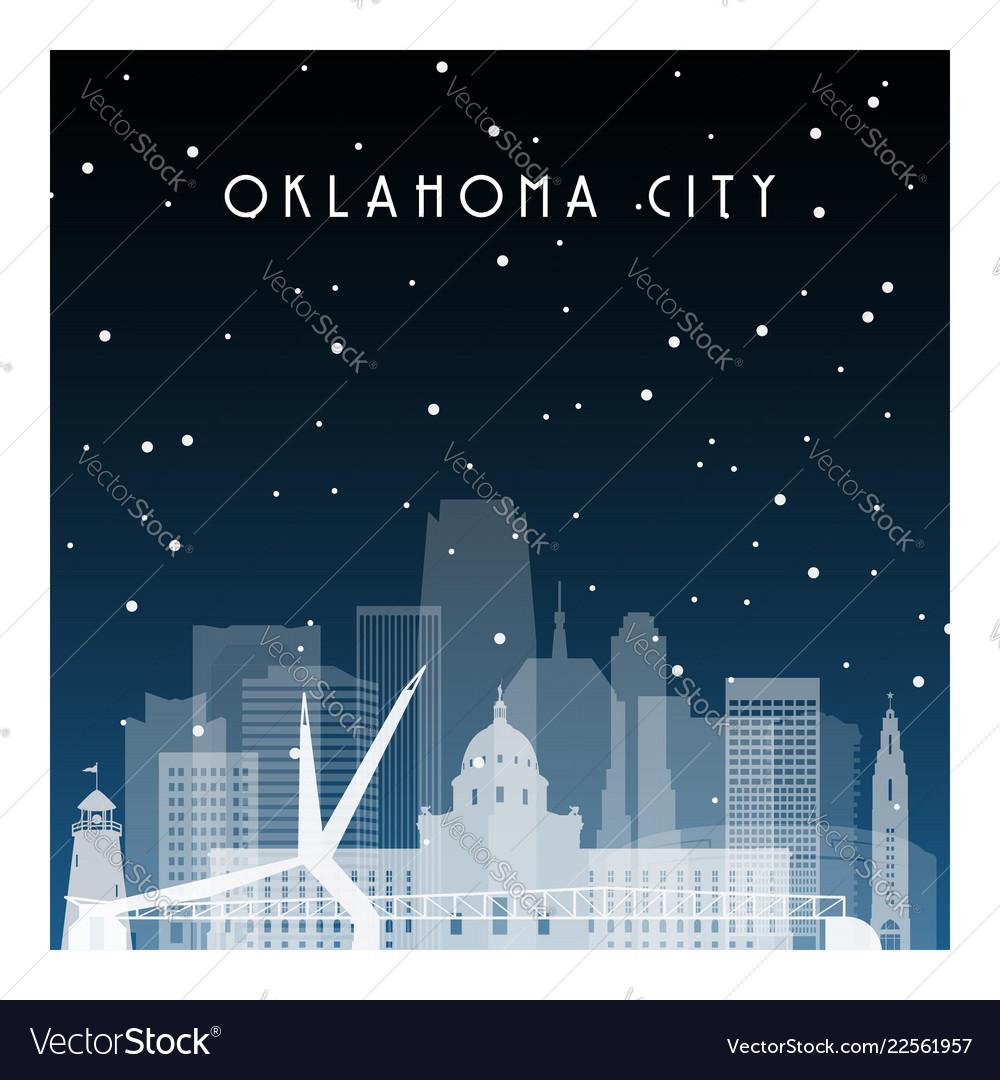 Winter night in oklahoma city night city