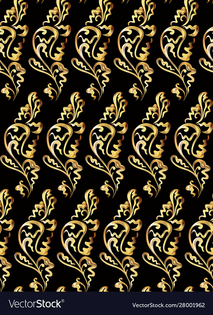 A seamless golden floral pattern on black