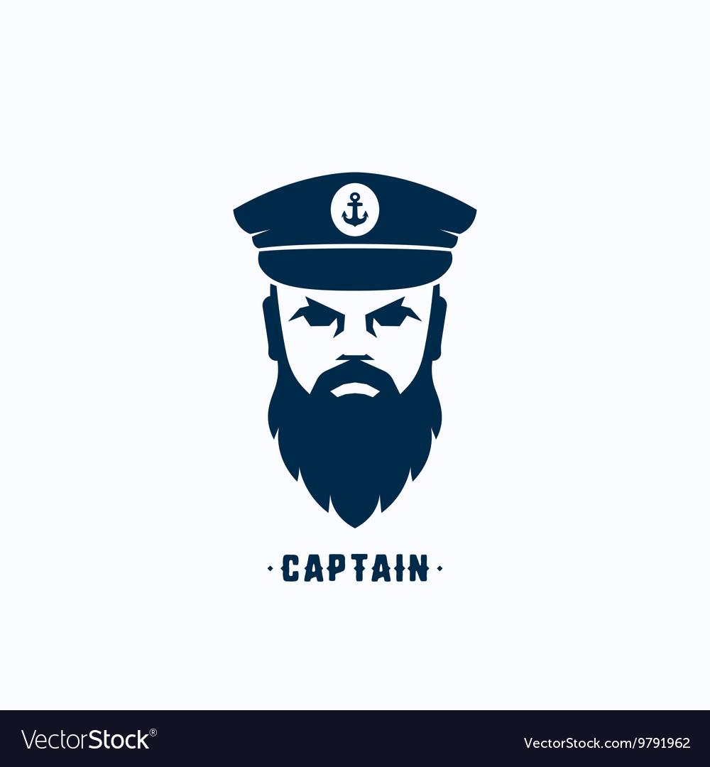 Captain Face Silhouette Logo Template