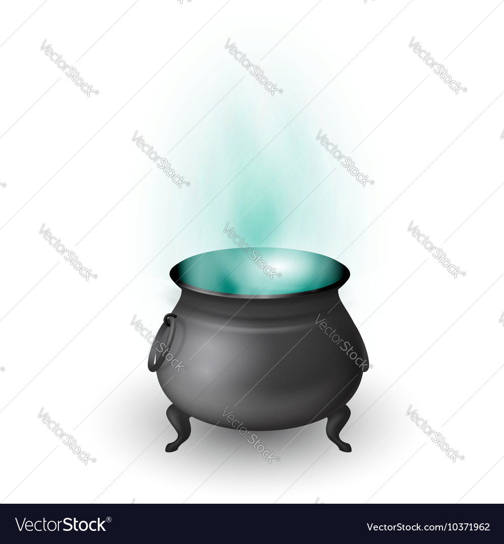 Cartoon Halloween witch cauldron with potion