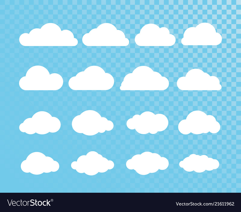 Cloud abstract white cloudy set isolated on