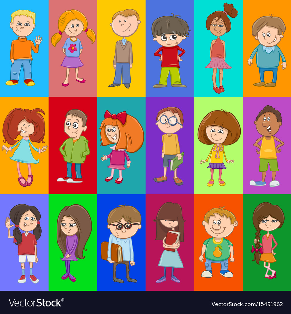 Decorative pattern design with kids vector image