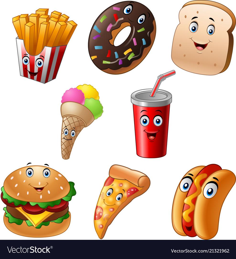 Fast food cartoon collection set