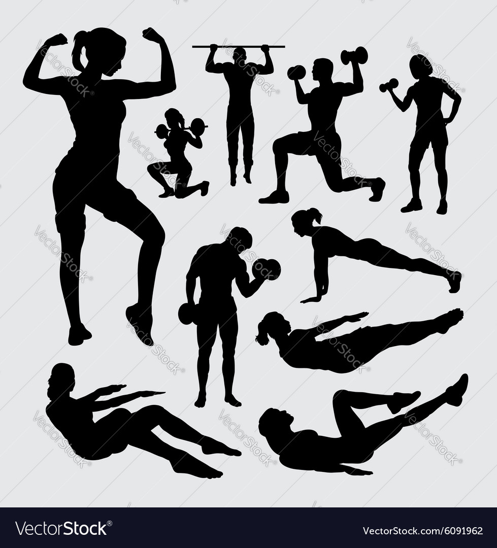 Fitness Sport Male And Female Silhouette Vector Image