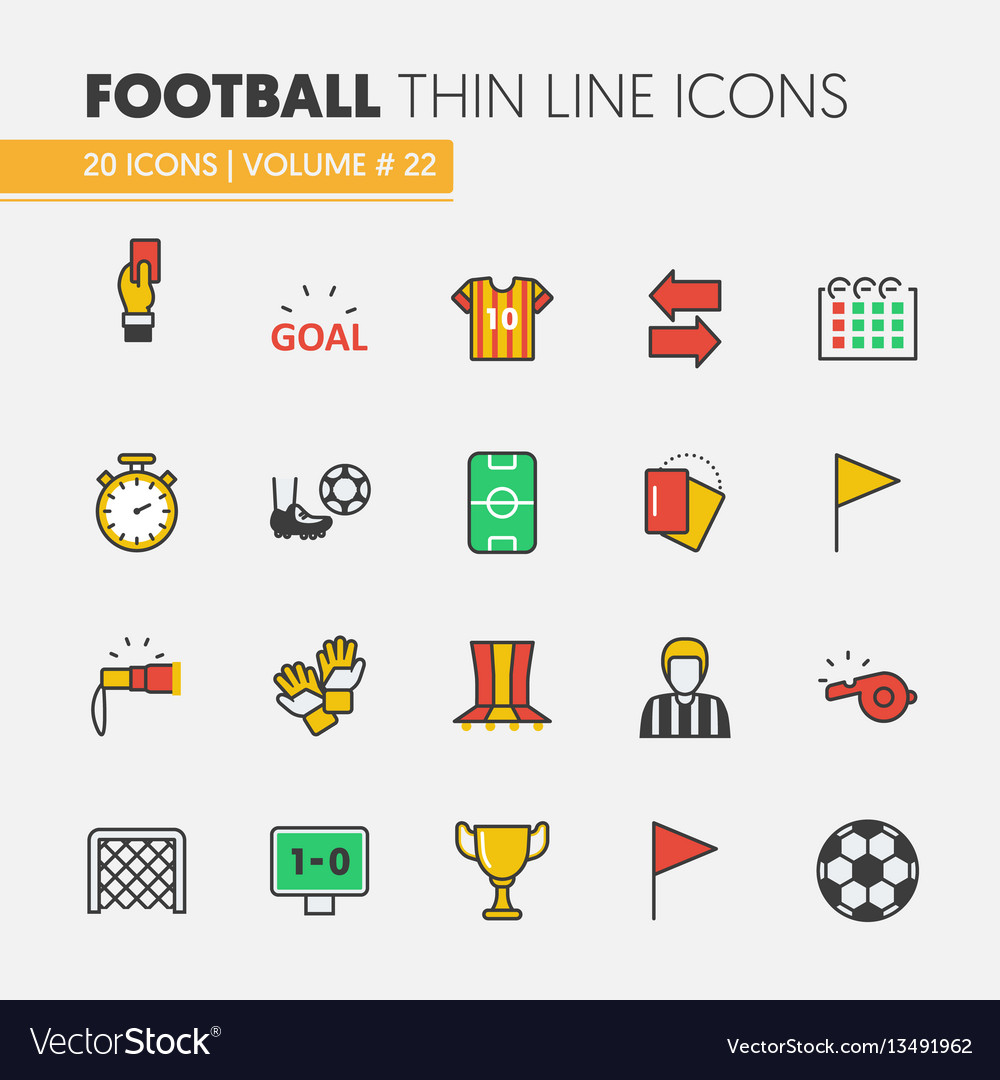 Football soccer linear thin line icons set