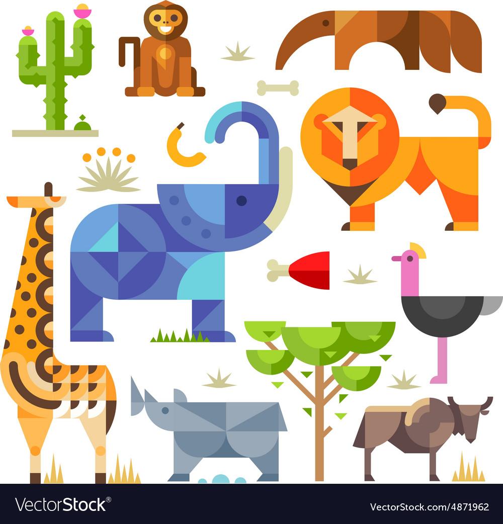 Geometric flat Africa animals and plants